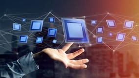 Microplaqueta de processador e conexão de rede - 3d rendem Fotos de Stock