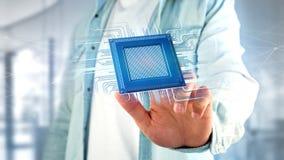 Microplaqueta de processador e conexão de rede - 3d rendem Imagem de Stock Royalty Free