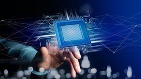 Microplaqueta de processador e conexão de rede - 3d rendem Imagens de Stock