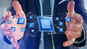 Microplaqueta de processador e conexão de rede - 3d rendem Fotografia de Stock
