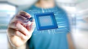 Microplaqueta de processador e conexão de rede - 3d rendem Foto de Stock