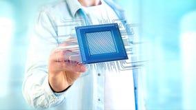 Microplaqueta de processador e conexão de rede - 3d rendem Fotografia de Stock Royalty Free