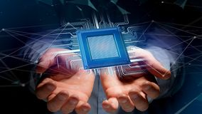 Microplaqueta de processador e conexão de rede - 3d rendem Fotos de Stock Royalty Free