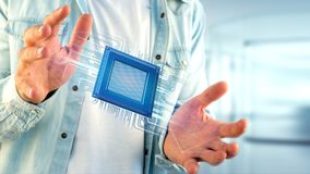 Microplaqueta de processador e conexão de rede - 3d rendem Imagens de Stock Royalty Free