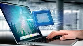 Microplaqueta de processador e conexão de rede - 3d rendem Foto de Stock Royalty Free