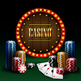 Microplaqueta do casino com sinal retro da luz de néon Foto de Stock Royalty Free