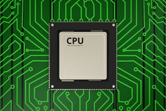 Microplaqueta do processador central na placa de circuito Fotos de Stock