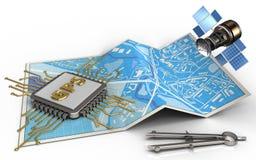 microplaqueta dos gps 3d Imagem de Stock Royalty Free