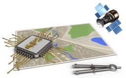 microplaqueta dos gps 3d Imagem de Stock