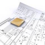 Microplaqueta dourada no esquema bonde Fotos de Stock Royalty Free