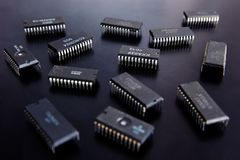 Microplaqueta eletrônica imagens de stock