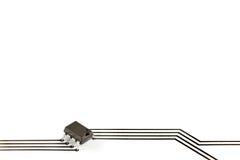 Microplaqueta eletrônica com trilhas impressas Fotografia de Stock Royalty Free