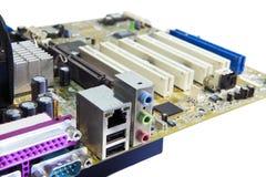 Microplaqueta eletrônica e inscrição padrão dos resistores e dos condensadores imagens de stock
