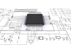 Microplaqueta no esquema bonde Fotografia de Stock