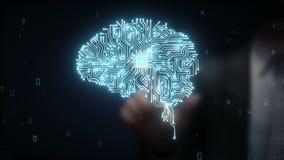 A microplaqueta tocante do processador central do cérebro do homem de negócios, cresce a inteligência artificial
