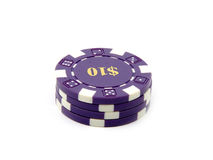 Microplaquetas $10. do casino. imagem de stock royalty free