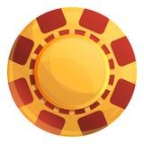 Microplaquetas amarelas ícone do casino, estilo dos desenhos animados ilustração stock