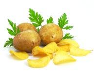 Microplaquetas com fast food dos vegetais da batata imagens de stock royalty free