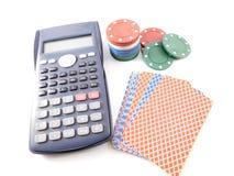 Microplaquetas da calculadora e do póquer Fotografia de Stock