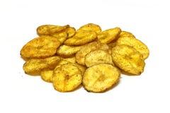 Microplaquetas da fritada da pimenta da banana isoladas Fotografia de Stock Royalty Free