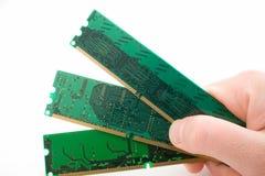 Microplaquetas da memória em uma mão imagem de stock royalty free