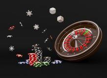 Microplaquetas da roda de roleta do casino isoladas no preto Microplaquetas do jogo 3D do casino Bandeira em linha do casino Micr fotografia de stock royalty free