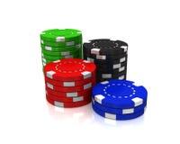 Microplaquetas, dados e cartões do casino Fotos de Stock Royalty Free