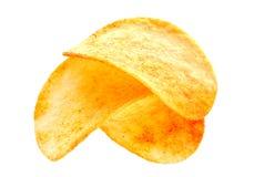 Microplaquetas de batata no branco imagens de stock royalty free
