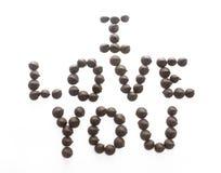 Microplaquetas de chocolate que soletram eu te amo Imagem de Stock Royalty Free