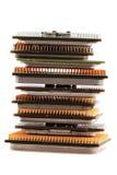 Microplaquetas de computadores isoladas Fotografia de Stock Royalty Free