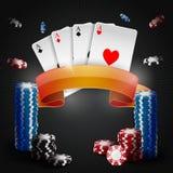 Microplaquetas de jogo do pôquer Coleção do pôquer com microplaquetas Fotos de Stock