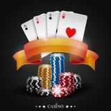Microplaquetas de jogo do pôquer Coleção do pôquer com microplaquetas Imagens de Stock Royalty Free