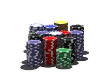 Microplaquetas de póquer Multicolor ilustração stock