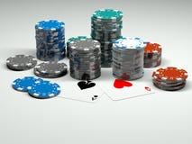 Microplaquetas de póquer Multicolor ilustração royalty free