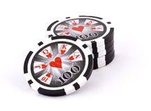 Microplaquetas de póquer pretas Fotos de Stock