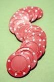 Microplaquetas de póquer vermelhas Fotografia de Stock