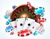 Microplaquetas de p?quer dos cart?es de jogo Casino em linha de queda dos dados que joga o conceito real?stico do jogo 3D com rol ilustração do vetor