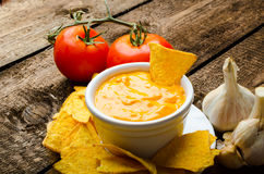 Microplaquetas de tortilha com mergulho do tomate e do queijo-alho Foto de Stock Royalty Free