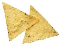 Microplaquetas de tortilha do milho isoladas no branco Imagem de Stock