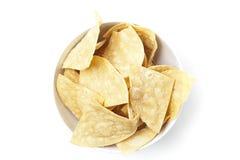 Microplaquetas de tortilla frescas do milho Fotografia de Stock