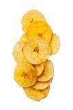 Microplaquetas do banana-da-terra de Platano no fundo branco Fotos de Stock Royalty Free