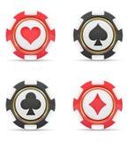 Microplaquetas do casino com ilustração do vetor dos ternos dos cartões Foto de Stock Royalty Free