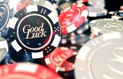 Microplaquetas do casino da boa sorte Imagens de Stock