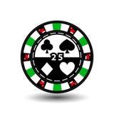 Microplaquetas do casino do Natal Verde Tampão de Santa Claus nos lados e no número twenty-five no meio Ilustração Uso para ilustração royalty free