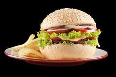 Microplaquetas do hamburguer e de batata em uma placa Fotografia de Stock Royalty Free