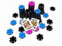 Microplaquetas do póquer com pares do rei ilustração stock