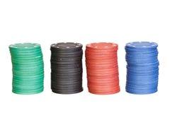 Microplaquetas do póquer de quatro cores dos differents Fotos de Stock