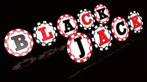 Microplaquetas do sinal do Blackjack Fotografia de Stock Royalty Free