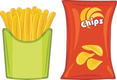 Microplaquetas e batatas fritas de batata Fotos de Stock Royalty Free