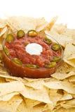 Microplaquetas e close up da salsa Fotos de Stock